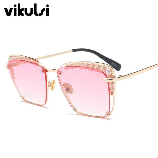 ff0da67f307 2018 Fashion Cat Eye Sunglasses Women Chic Brand Designer Luxury Sunglasses  Lady Pearl Sun Glasses Female