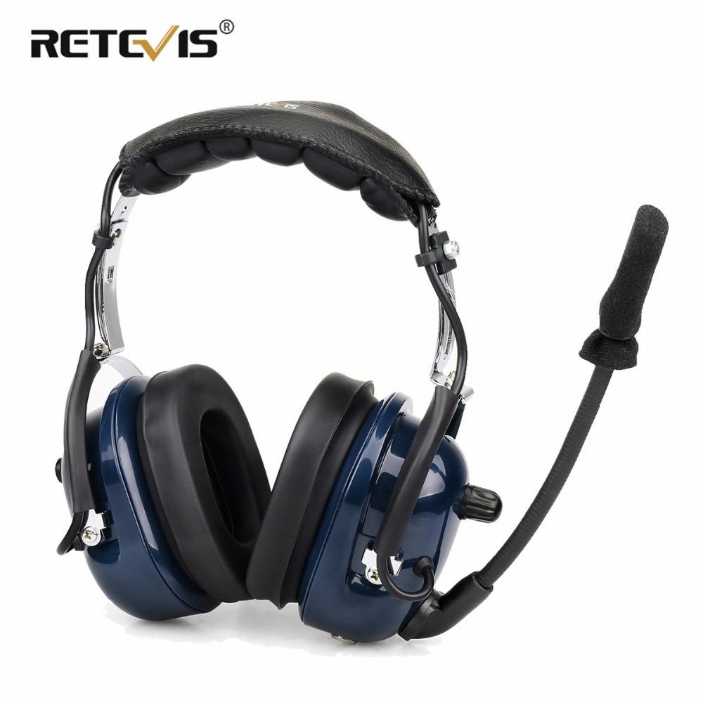 Retevis EH050K Bruit Réduction de L'aviation Microphone Casque Talkie Walkie Casque Réglage Du Volume Pour Kenwood Baofeng UV-5R