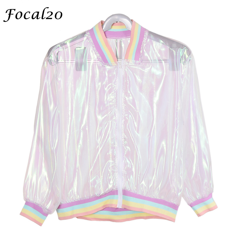 Focal20 Streetwear Rainbow Color Laser Women Sunproof Jacket Clear Iridescent Transparent Jacket Coat Sun Protection Outwear