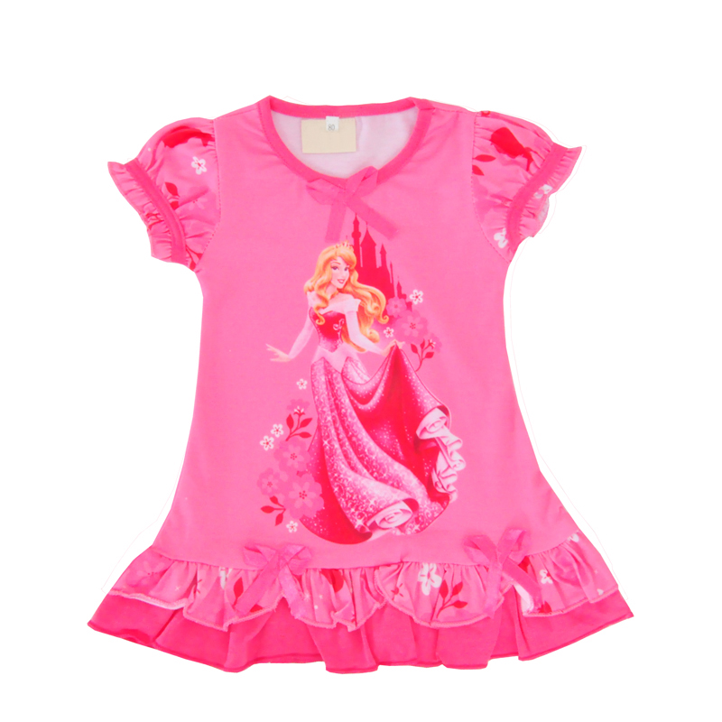 Toddler Girl Princess Dress New Summer Lovely Children Dresses Cartoon Character Girls Party Dress Pink Bow Kids Clothes Outfits