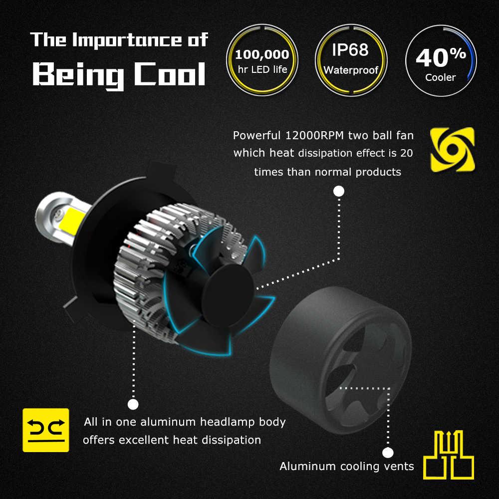 2X H4 H7 H11 H1 H3 9005 9006 COB Car LED Headlight Bulbs Hi-Lo Beam 72W 9000LM 6500K Auto Headlamp Fog Light Bulb DC12v 24v