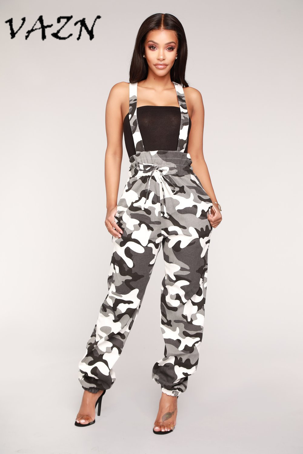 VAZN 2018 Hot Fashion Ladies Casual Style Women Jumpsuit Camouflage Overalls Bodycon Romper LS6122