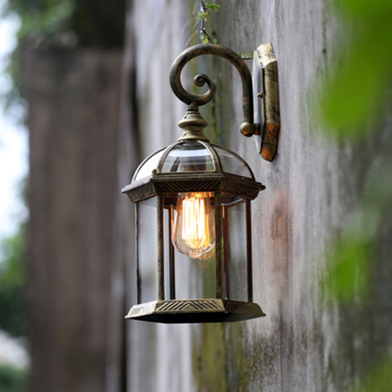 Double Hexagonal Wall Lamp Vintage Waterproof Vintage Garden Light  Decorative Lights For Balcony Porch Outdoor Lighting E27 In Outdoor Wall  Lamps From ...