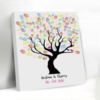 Exquisite Fingerprint Wedding Tree Balloon Pattern Vintage Custom Wedding Decoration Guest Book Frame Canvas Guestbook for Lover