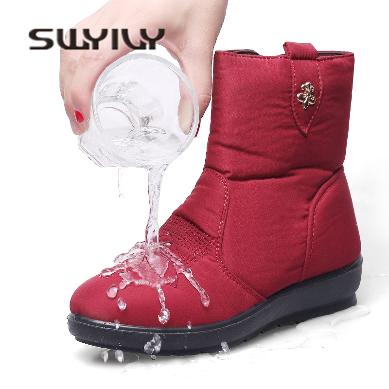 SWYIVY Winter Snow Boots Woman Thick Fur 2018 Female Snowboots Ankle Boots Waterproof Co ...