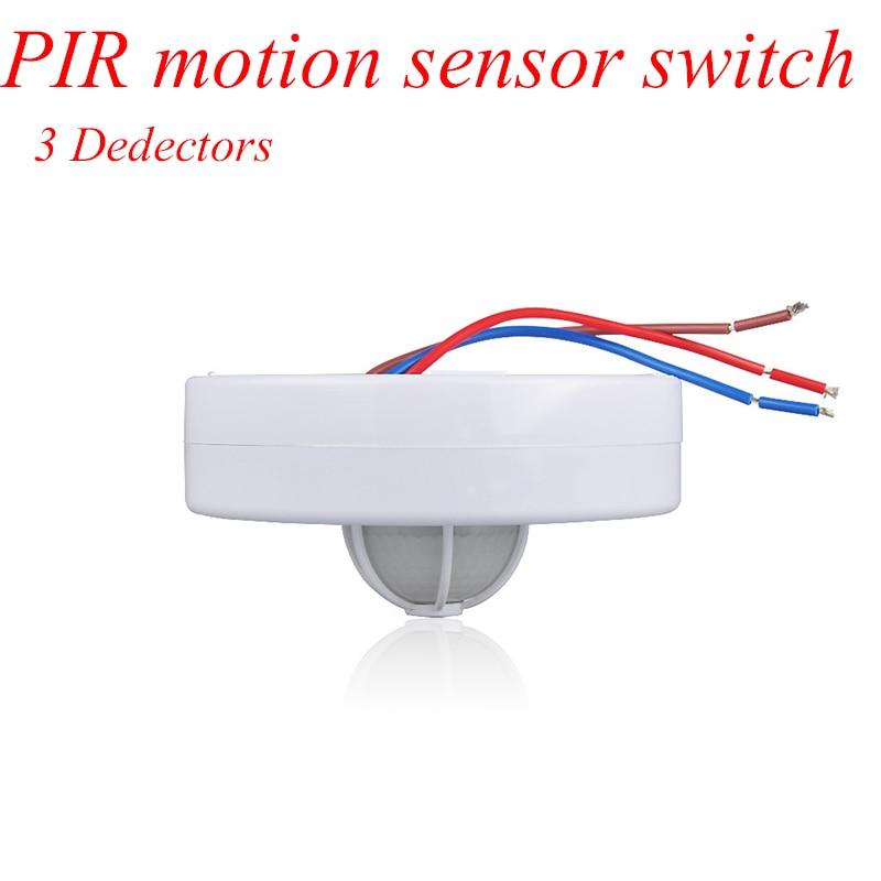 New 3 detectors 360 Degree  PIR Motion Movement Sensor Detector Switch led PIR infrared motion sensor body switch light switch new arrival 360 degree high sensitivity infrared motion sensor light switch adjustable body infrared sensor dc9 24v 1pc yy