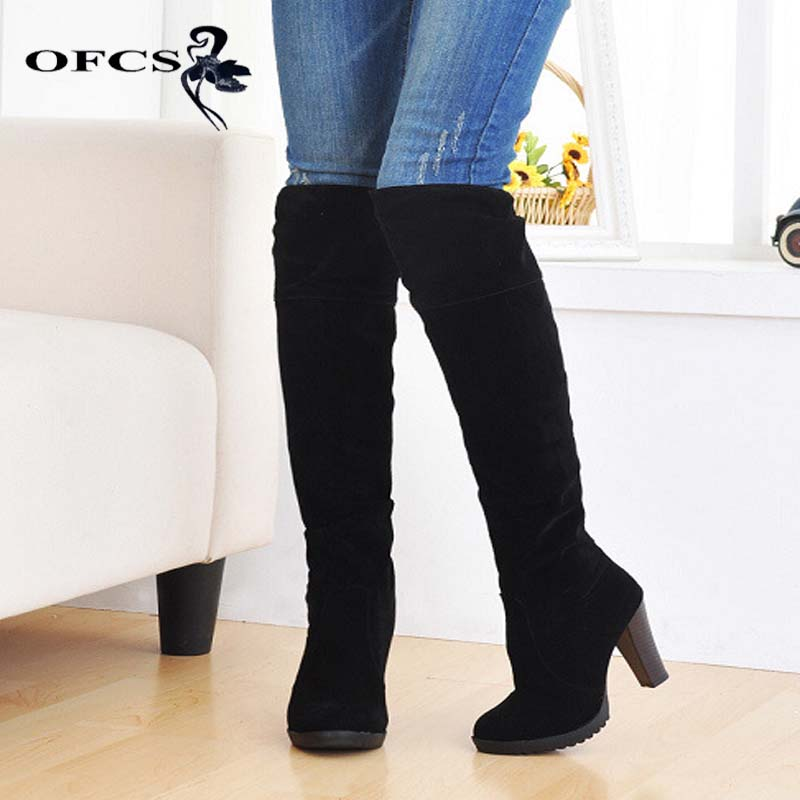 Aliexpress foreign trade all-match all-match rough heel boots boots simple high boots size large cylinder circumference flanging aliexpress v