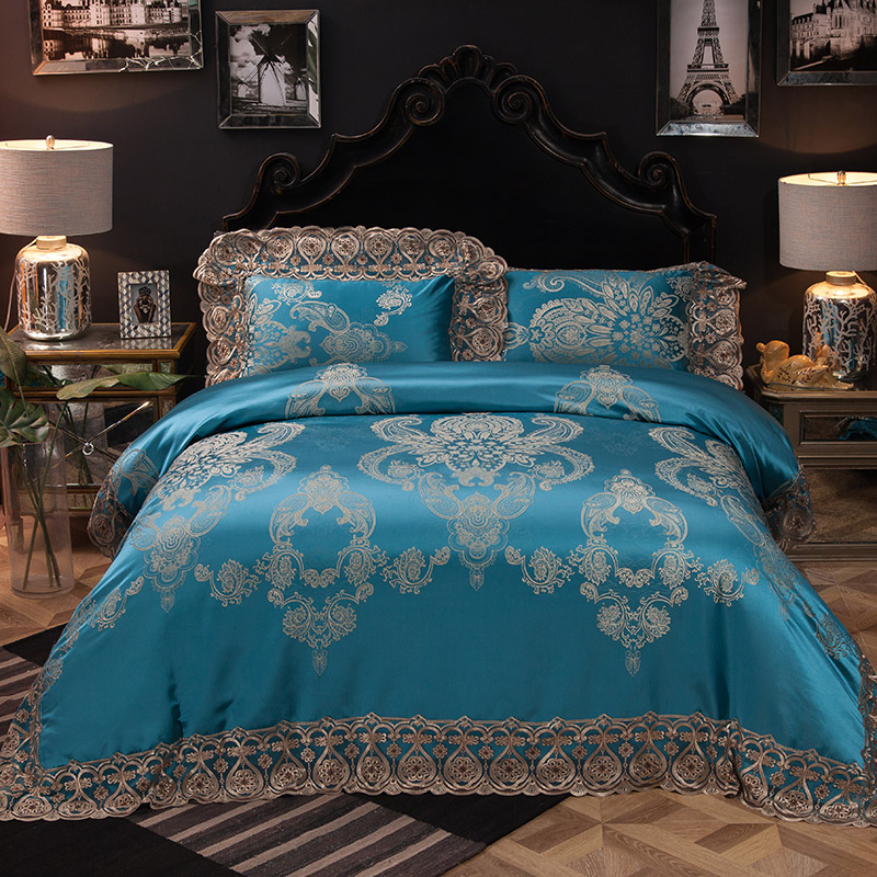 Blue Red Color Jacquard Oriental Luxury Queen/King Wedding Bedding Sets Lace Cotton Stain Bed Set Bed Sheet Duvet Cover Set
