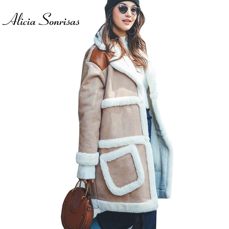 Winter Suede Coat Women New 2017 Loose Warm Faux Sheepskin Thick Shearling Long Coat Women PU Leather Jackets AS175867