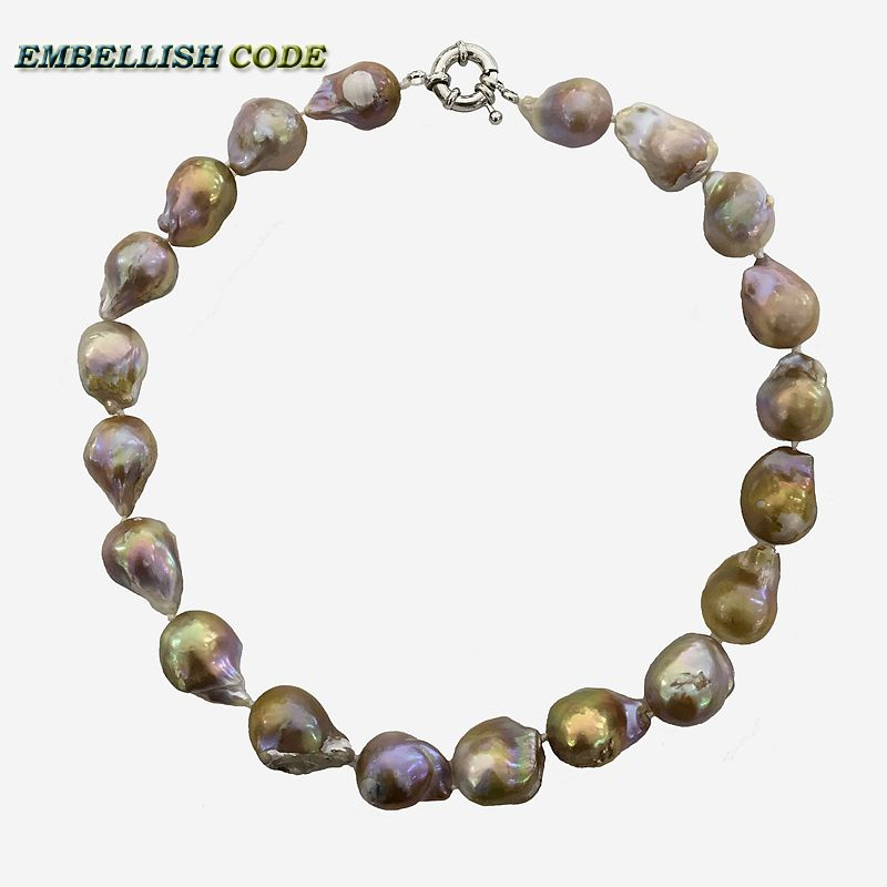 Selling well purple golden large size tissue nucleated flame ball shape baroque pearls necklace freshwater real natural pearls 16 inches 14x18mm natural white nucleated large baroque pearls loose strand