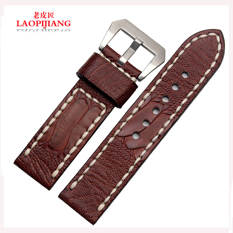 Laopijiang Ostrich leather strap foot Bracelet male adapter strap Sterculia table fashion 22 24 26mm
