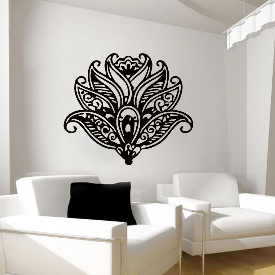 Loto tatuajes de pared flor patrón de arte Yoga Decal vinilo ...