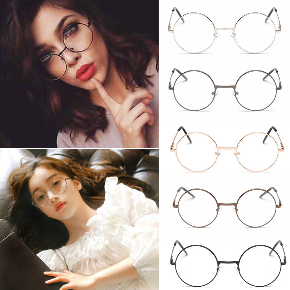 Clear Frame Personality Glasses : 2017 Unisex Vintage Round Reading Glasses Metal Frame ...