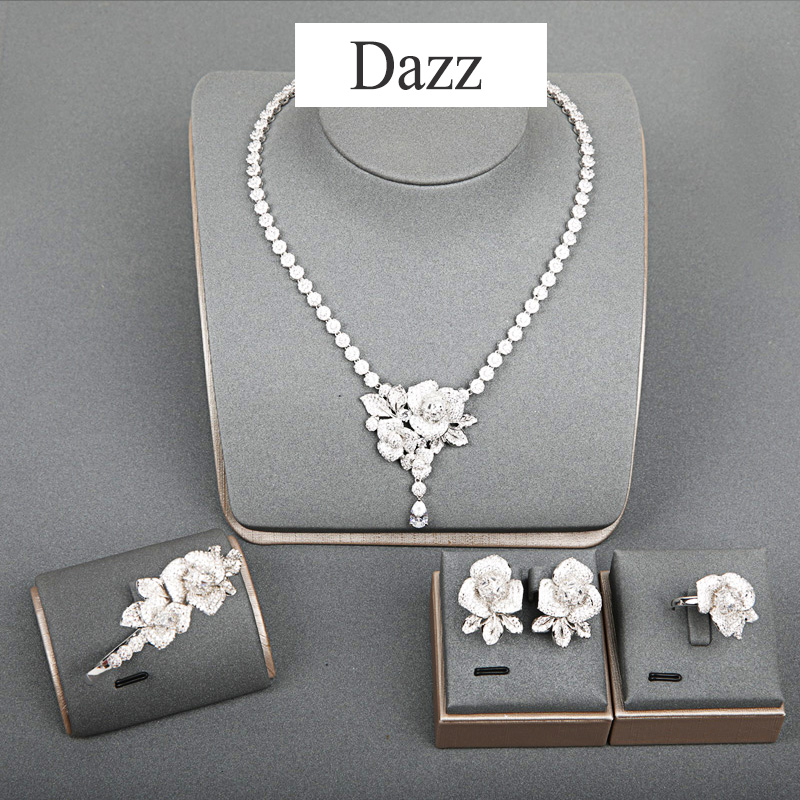 Dazz Fashion Silver Color Flower Full Zircon Necklace Earrings Ring Bangle Wedding Jewelry Set Womens African Bride AccessoriesDazz Fashion Silver Color Flower Full Zircon Necklace Earrings Ring Bangle Wedding Jewelry Set Womens African Bride Accessories