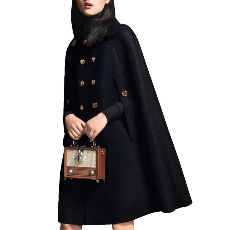 Плащ размера плюс 2XL, шерстяное пальто, Осень-зима, женское двубортное шерстяное пальто с коротким рукавом