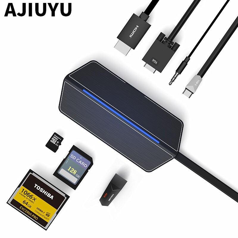 AJIUYU USB-C to HDMI VGA Converter Type-c HUB Thunderbolt 3 7in1 Multiort SD RJ45 Card Reader PD Charge USB 3.1 Laptops Notebook ajiuyu thunderbolt 3 to hdmi vga converter type c hub to rj45 sd card reader pd usb3 1 for dell laptops g3 15 17 new g5 g7 5280
