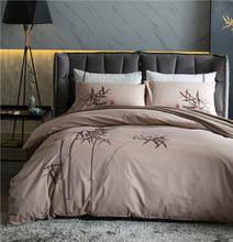 luxury cotton linens bedding set bamboo leaf embroidery bed set king queen bed linens duvet