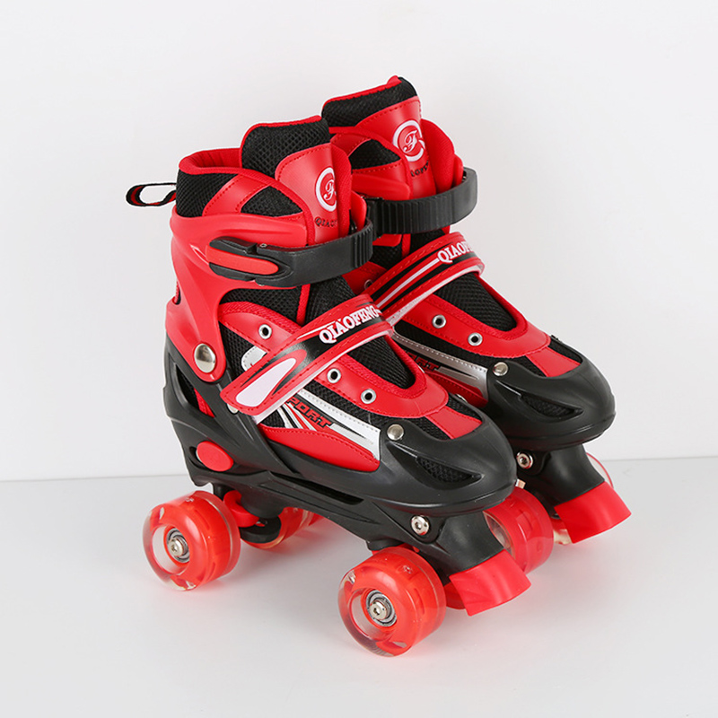NEW Professional Adult Children Double Line 4 Wheels Skates Skating Shoes Adjustable Size Breathable Patines PU