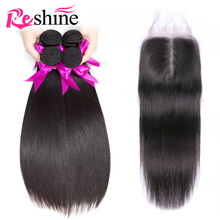 Бразильские прямые пучки волос с закрытием 100% пучки человеческих волос с закрытием Reshine Hair