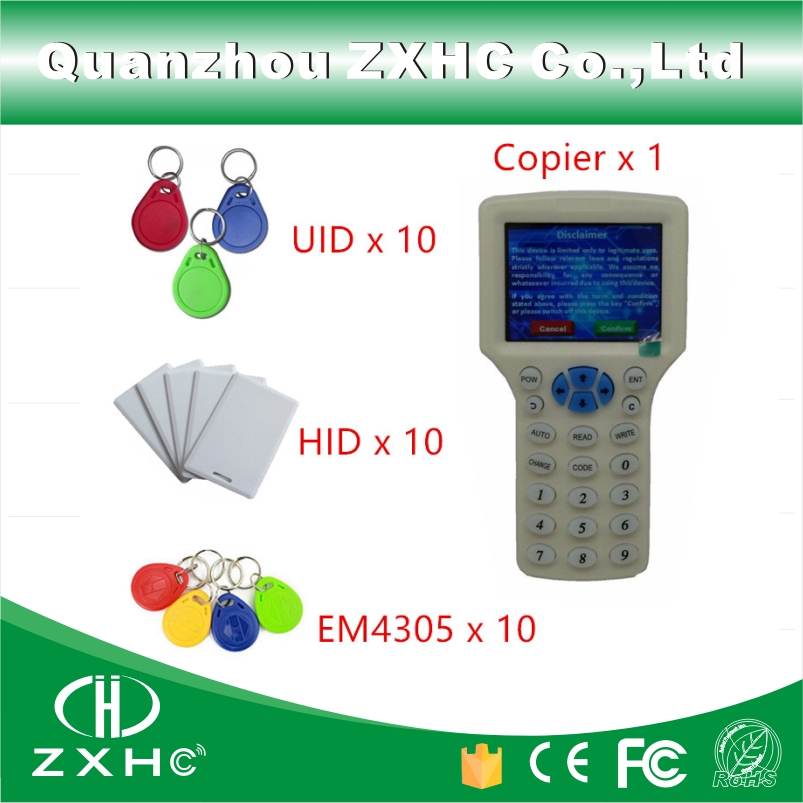 English Language RFID Reader Writer Copier Duplicator 125Khz 13.56Mhz 10 Frequency With USB Cable For IC/ID Cards +30pcs Tag usb rfid uhf reader and writer 860mhz 960mhz with complete english sdk demo software user manual source code