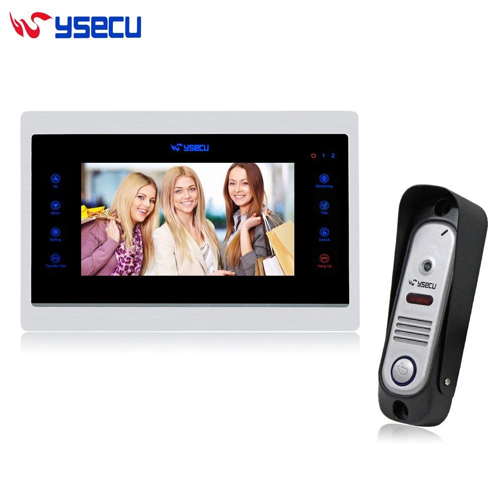 YSECU Upgraded Video Door Phone Doorbell Intercom System  Recording Unlock Dual way intercom Night Vision 1 Monitor 1 Doorbell