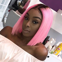 Sunnymay Full Lace Human Hair Wigs Brazilian Virgin Hair Hot Pink Dark Root Bob Lace Wigs Pre Plucked Middle Part