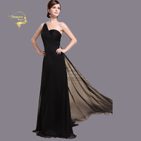 Black Cut Out Back Sexy Long Evening Dresses One Shoulder Valentine's Day Beach Graduation Clubbing Homecoming Prom Bridal Dress