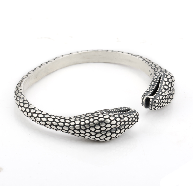 925 Sterling Silver Cuff Bangle Both Snake Love Each Other European Style Bracelets Jewelry For Women Gift cuff bangle 925 sterling silver snake shape european style bracelets for women adjustable jewelry