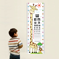 5Pcs Pack Cute Giraffe Self Adhesive Wallpaper Vision Inspection Cartoon Wall Stickers Home Decal Door Stickers