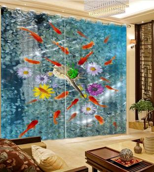 Modern 3D Curtains Photo Printed Fish Window Curtains Drapes For Living Room Bedroom Blackout Polyester/Cotton Drapes Cortinas