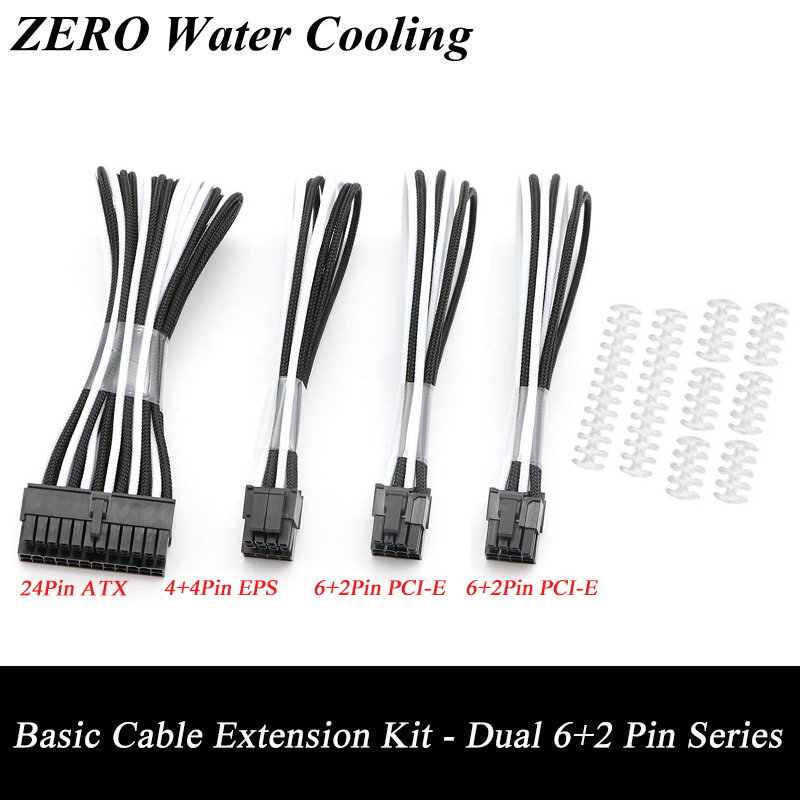 Basic Extension Cable Kit - 1pcs ATX 24Pin, 1pcs EPS 4+4Pin, 2pcs PCI-E 6+2Pin Extension Cable. 400pcs crimp female terminals pin plug 50pcs 5557 8 6 2 p atx eps pci e connectors with plastic box