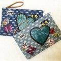 Nueva divisa del bordado de lentejuelas en forma de corazón de la historieta de lona ocasional bandolera bolsa de mensajero del bolso de embrague del sobre del bolso de las mujeres