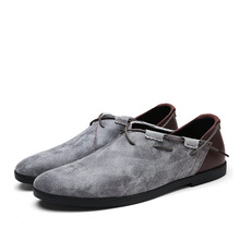 Outdoor Shoes Men Genuine Leather Casual Shoes  Spring New Breathable  Flat Korean Lazy Slip-On Solid Walking Shoes цена в Москве и Питере