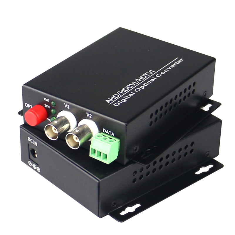1080P HD CVI AHD TVI 2 Channel Video Fiber Optical Media Converters with RS485 Data- For ...