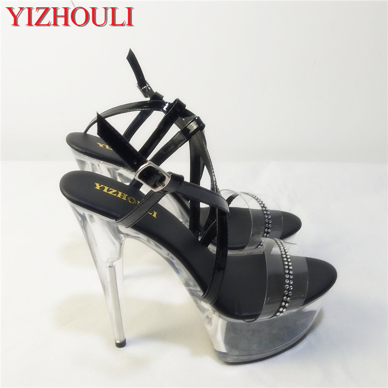 2018 women s shoes sexy stage shoes 15cm stiletto sandals black 6 inch high  heel shoes clear Crystal shoes Platforms shoes