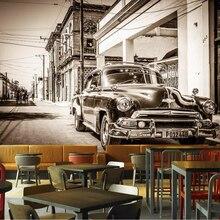 Papel tapiz grande de fotografía personalizado beibehang 3d retro nostálgico negro y blanco calle coche clásico hotel restaurante mural 3d papel tapiz