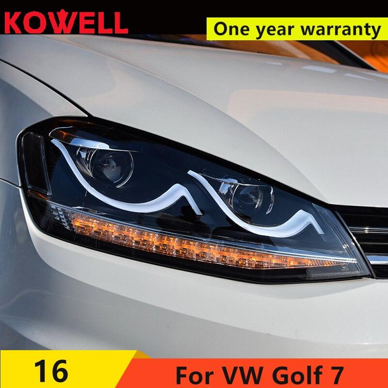 KOWELL Car Styling For VW Golf7 Headlights Golf 7 MK7 LED Headlight DRL Lens Double Beam H7 HID Xenon bi xenon lens