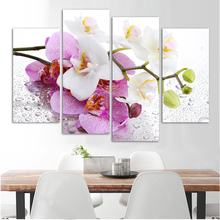 Modular Wall Paintings 4 Pcs Flowers Modern Painting On Canvas Pictures For Living Room Good Quality