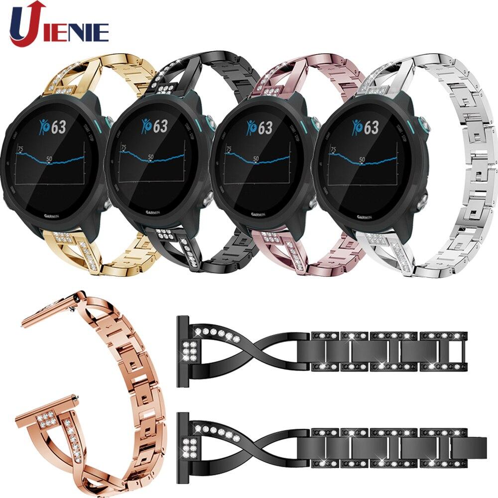 20mm Stainless Steel Crystal Watchband Strap Band For Garmin Forerunner 245/245M/645/Vivoactive 3/Vivomove HR Bracelet Wristband