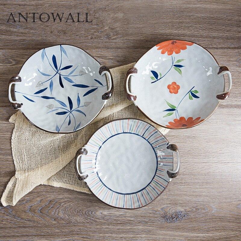 ANTOWALL plaque en céramique japonais HENGFENG ménage vaisselle fleur plante motif Design assiette alimentaire plat à fruits avec poignée