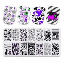 BeautyBigBang Stamping Plates Funny Cute Ghost Eye Spider Cat Image Stainless Steel Template Nail Art Plate XL-029