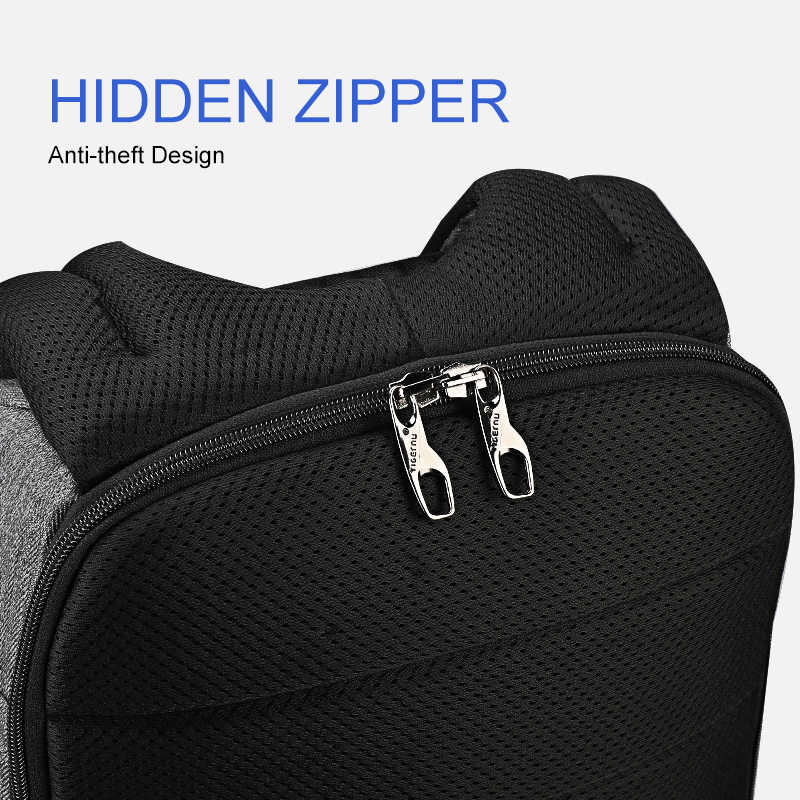 """Tigernu yeni rahat yüksek kaliteli su geçirmez erkek sırt çantası 15.6 """"dizüstü Anti hırsızlık USB erkek ile Mochilas moda okul sırt çantaları"""