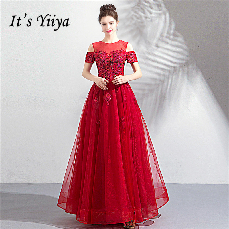It's YiiYa   Prom     Dresses   2018 Short Sleeves Floor-length A-line Red Formal   Dress   Beading O-neck Illusion Sex LX1130   Prom     Dress