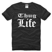Summer Thug Life Printed Men T Shirts Rap Short Sleeve Hip Hop Tupac 2PAC  Men T 90b8ed6d39e