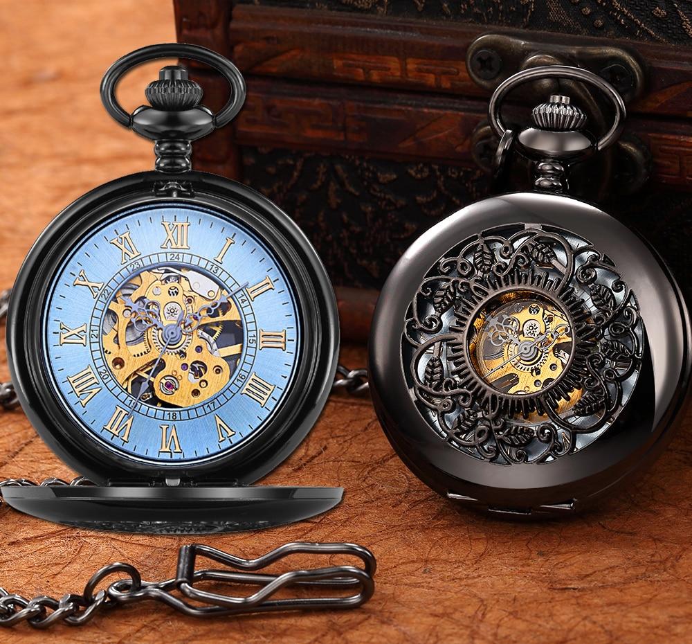 Steampunk Mechanical Pocket Watch Men Retro Pendant Watch Chain Vintage Necklace Mechanical Hand Wind Clock Pocket Watch Gifts 17