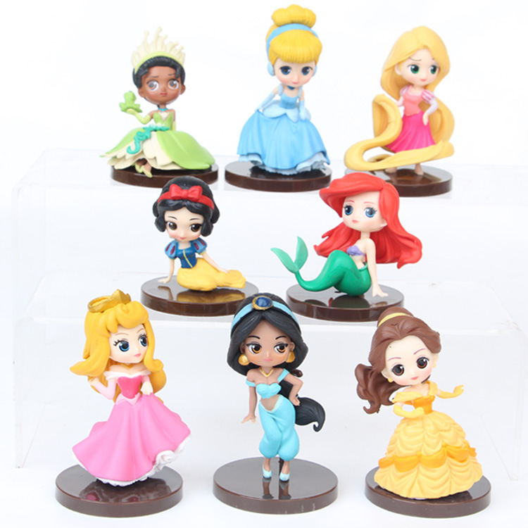 Cartoon Princess Figurines Snow White Mermaid Sleeping Beauty Alice Action Figures Cake Decoration Models Kids Toys Gift TFA1843 cartoon