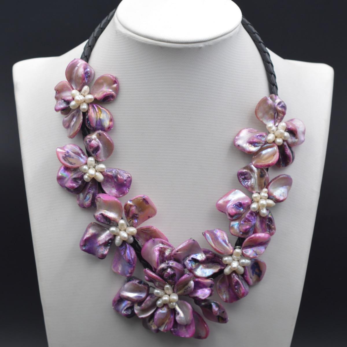 2019 offre spéciale Blanc Perles Pourpre Baroque Mère De Nacre Fleur collier ras du cou Colliers pour Femmes
