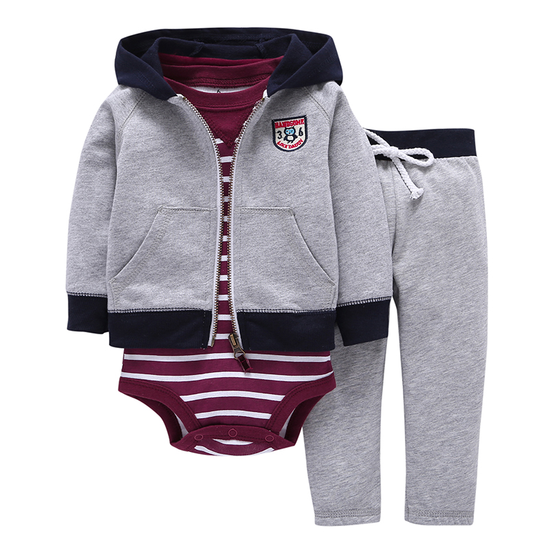2018  Autumn Spring children suits bebes baby boys clothes set hooded jacket+stripe romper+pants  newborn boy girl clothing