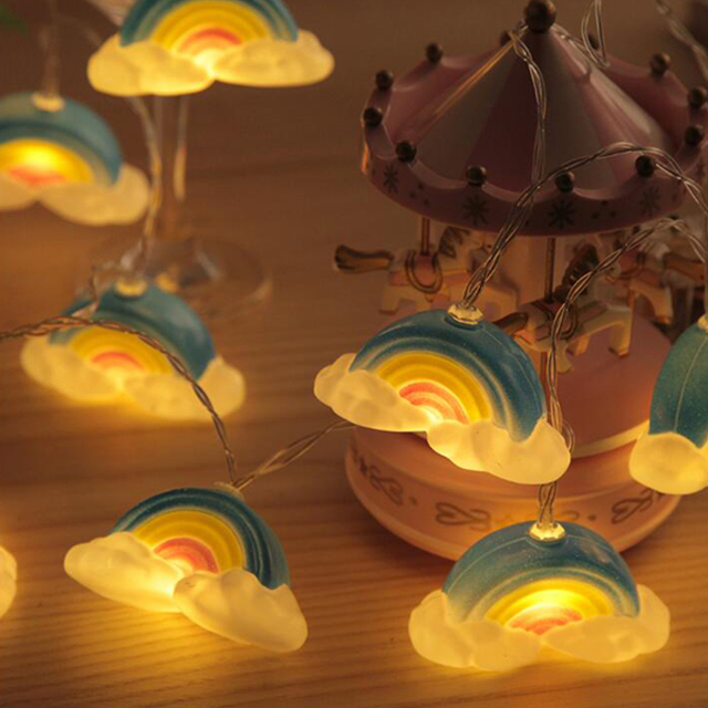 10led String Lingts Rainbow Clouds Pendant Lamp Aa Battery Ed Lighting Christmas Party Valentines Holiday Light