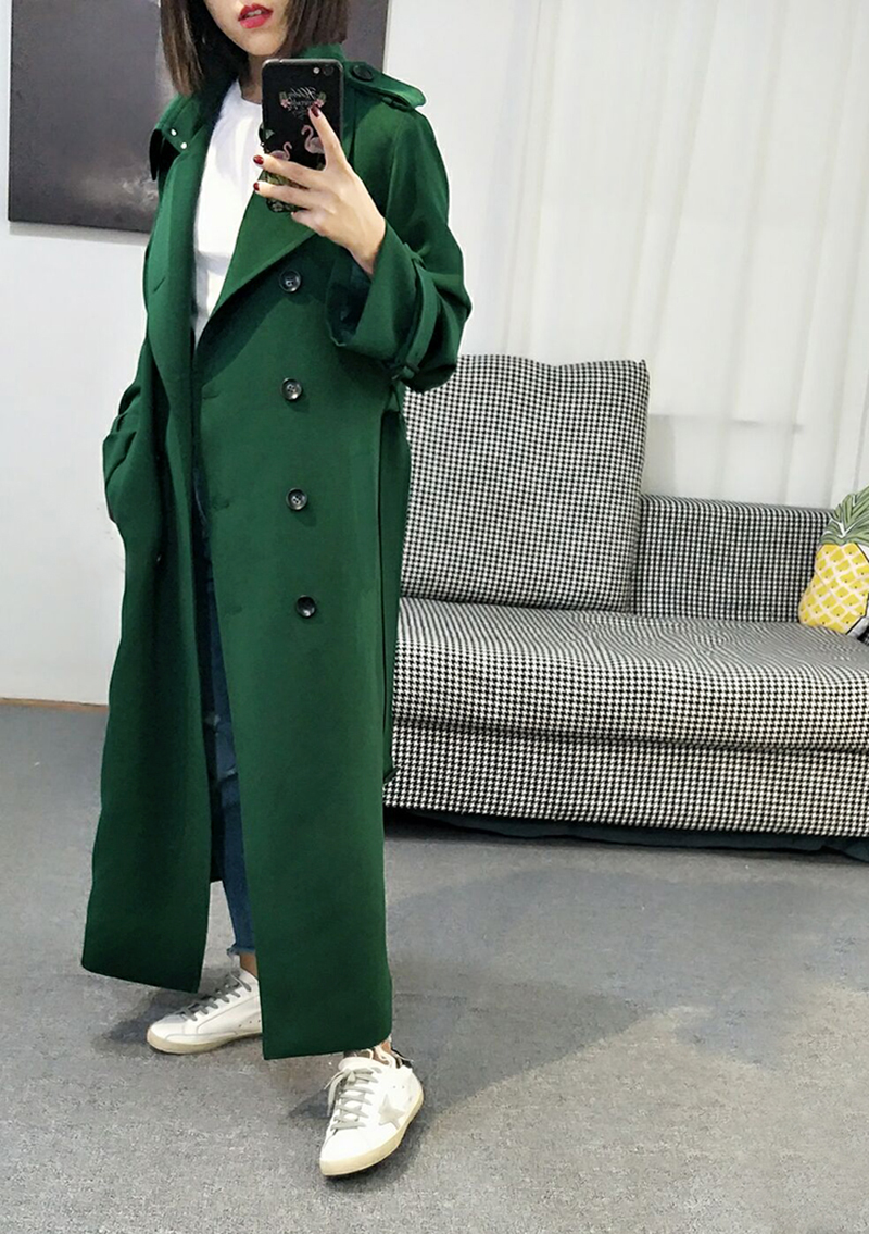 New Fashion 2019 Fall /Autumn Casual Double Breasted Simple Classic Long   Trench   Coat Green Chic Female Windbreaker